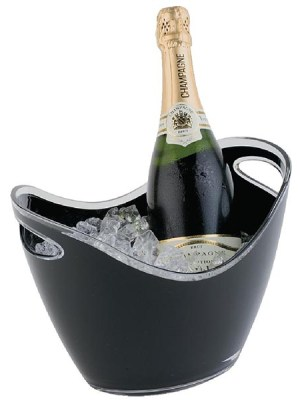 Black acrylic buckets for chilling or displaying wine or champagne bottles.
