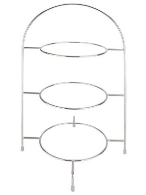 Wire serving stand for the presentation of three plates up to 8.25À/210mm(¯) or 10.5À/270mm(¯). Plates not included.