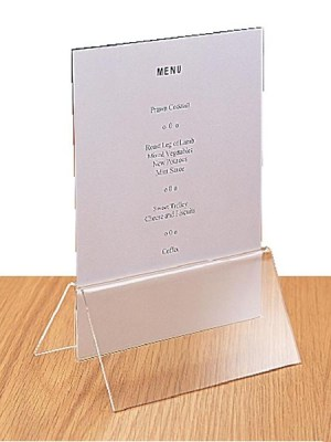 Highly durable clear plastic securely grips any A5 menu card (not included). 42(H) x 151(W) x 57(D)mm.
