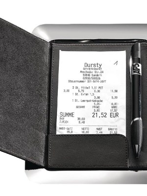 A mirror polished stainless tray with leather bill holder for secure and stylish presentation of a check/ bill.