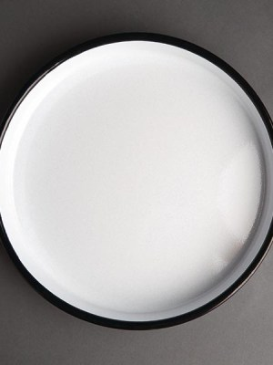 Round Enamel Serving Tray in blue