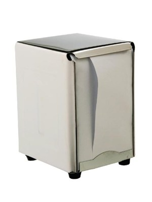 Classic 50's chrome-look stainless steel dispenser. Double sided load. 140(h) x 95(w) mm. Recycled single ply napkins for dispenser sold separately.