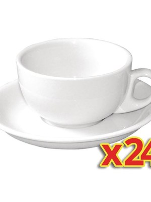 Buy more and save with these great value bulk deals. Includes 24 x 10oz cappuccino cups plus 24 x matching saucers.