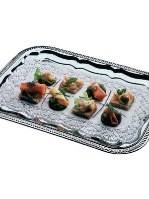 A one way chrome plated tray with embossed edge. 410 x 310mm