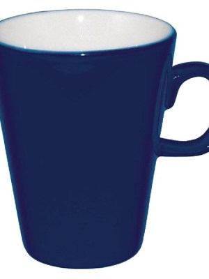 Add a touch of individuality to your table with this contemporary range of coloured porcelain crockery by Olympia. The range is ideal for simple yet vivid food and hot drinks presentation. This latte mug in a deep blue finish has soft-rolled