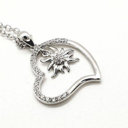 Pendentif Coeur edelweiss argent 925 - By White Alpina - Modèle A - Grand - Brillant