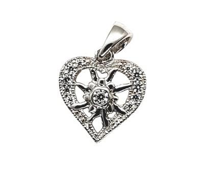 Pendentif Coeur (modèle B) avec petite Edelweiss en argent 925. Petit - Transparent