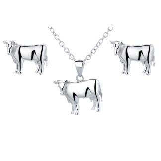 Ensemble bijoux vache argent 925 en forme de vache de la race Holstein by White Alpina. Bijou vache livré avec chaine et écrin.