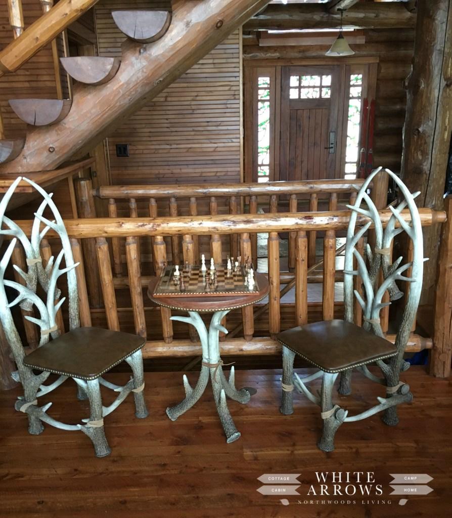 Antler Table, Chess, Log Home