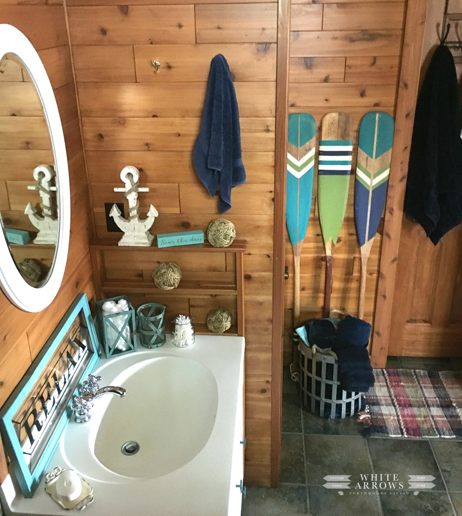 before and after, paddles, painted paddles, log cabin, bathroom