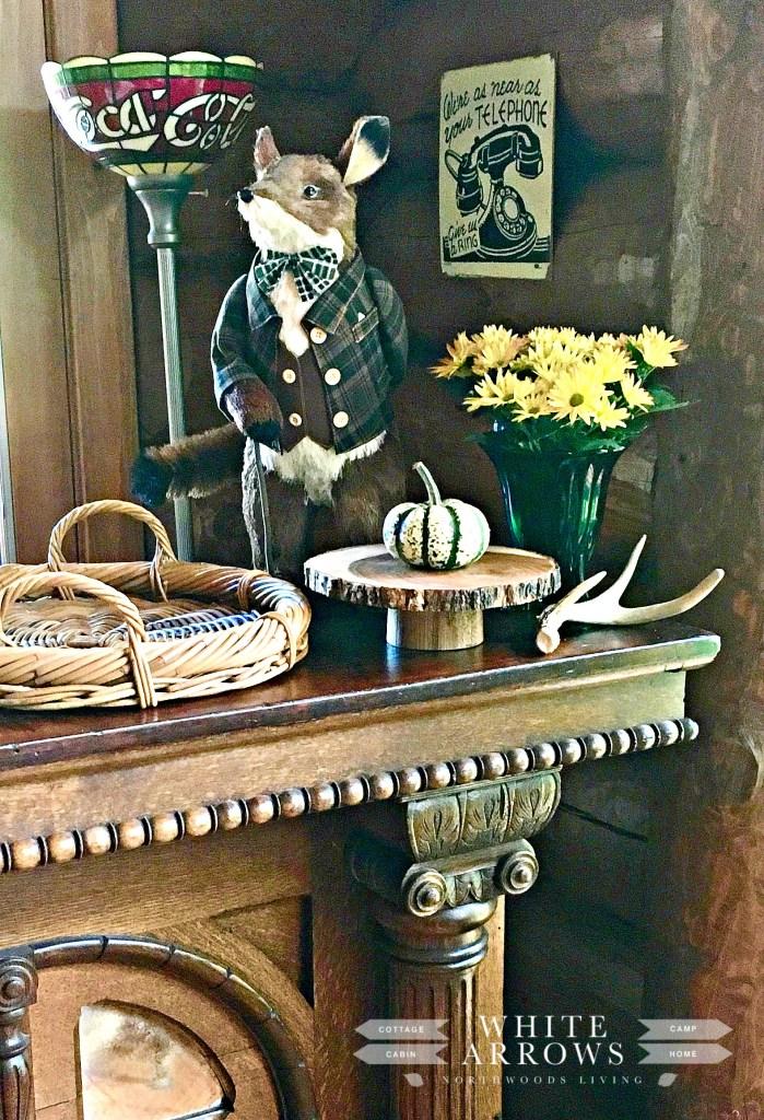 antique home bar, fall decor