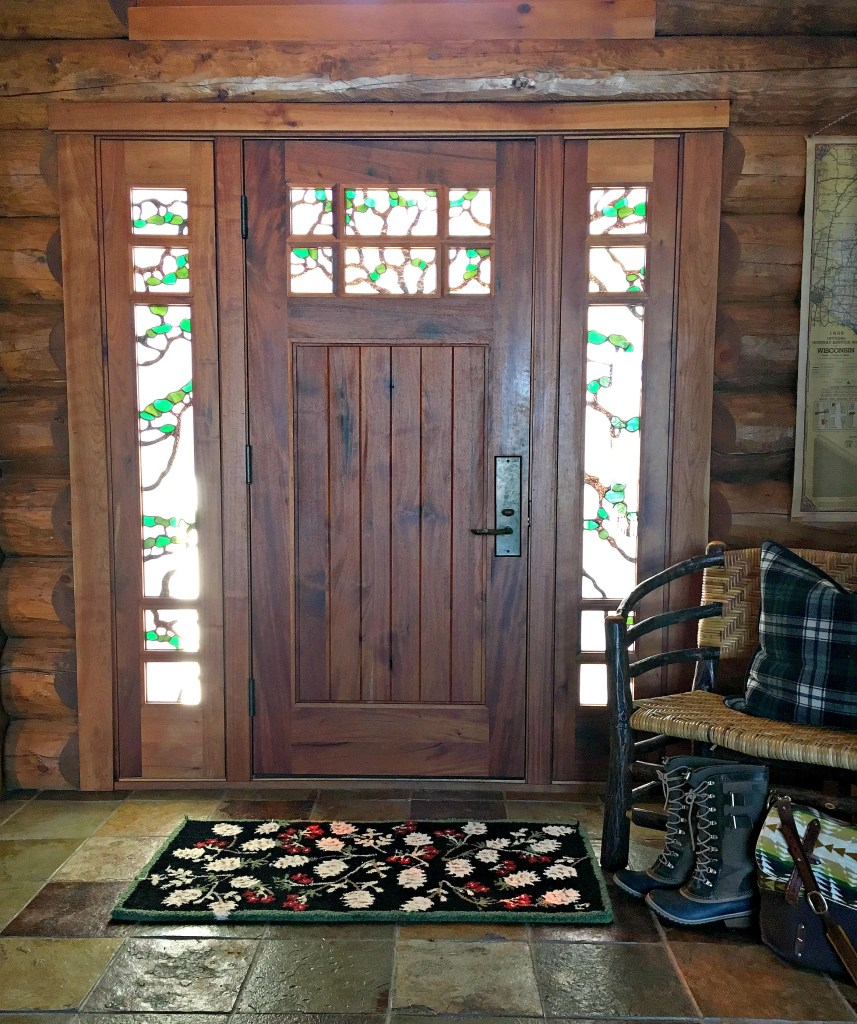 Front Door, Stained Glass, Log Cabin