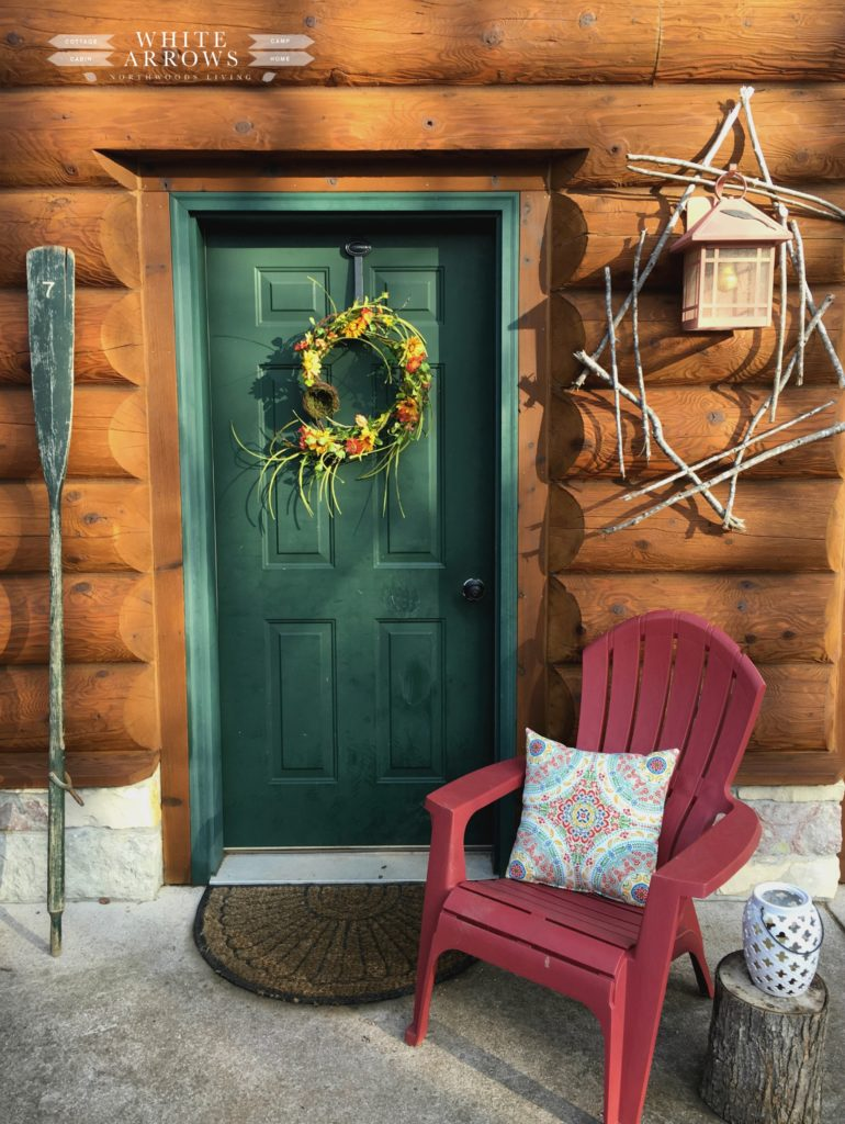 Spring Porch, Spring Decor, Log Cabin, Cabin Decor, Cabin Style, Adirondack Chair, Flower Wreath, Vintage, Vintage Oar