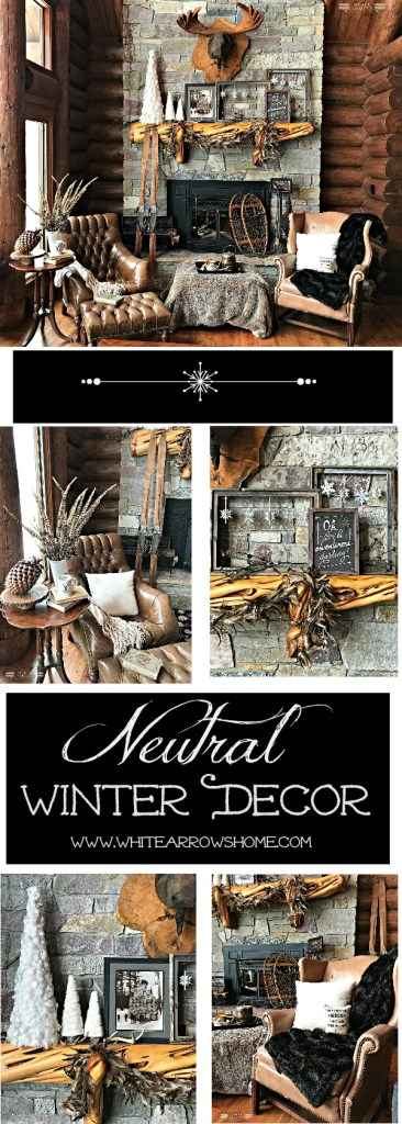 Neutral Winter Decor, Log Cabin, Lake House, Cottage