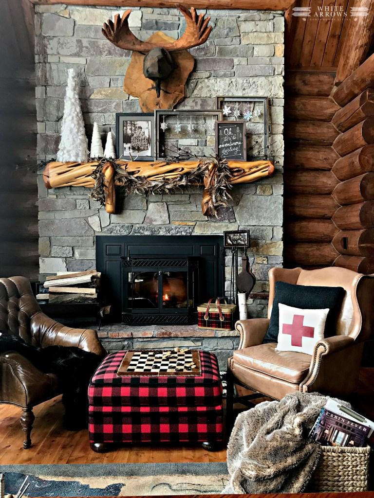winter neutral decor, winter decor, neutral decor, cabin, cabin decor, cabin style, log cabin, buffalo plaid