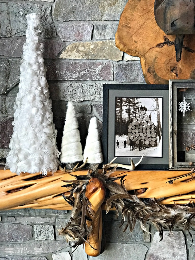 winter neutral decor, mantel, carved moose, snowflake decor, log cabin, cabin decor, rustic decor, winter decor, antler decor
