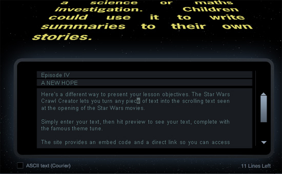 The Star Wars Crawl Creator