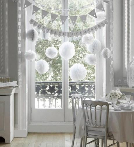 white bunting & pompoms