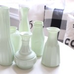 Make Your Own Milk Glass with Spray Paint- milk glass- faux milk glass- spray paint milk glass- vintage glass effects- thrift store vase- painting vases- spring decor- mantel decor- spring mantel