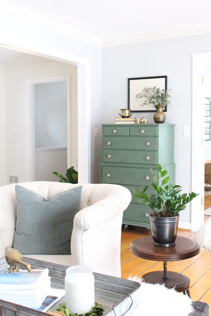 A wood dresser painted green- Amy Howard paints- One step paint- green- Cherbourg- how to use chalk paint- chalk painted finish- green furniture- how to paint furniture- home design- DIY- Do it Yourself project- painted furniture- room design