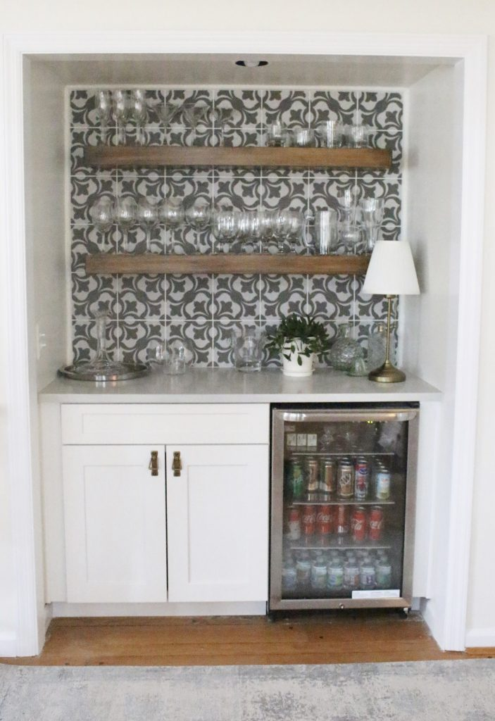beverage center- bar nook- DIY- bar area- kitchen- pattern tile on the wall- cottage renovation- kitchen renovation- cottage kitchen- farmhouse style kitchen- room decor ideas- DIY projects- floating wood shelve
