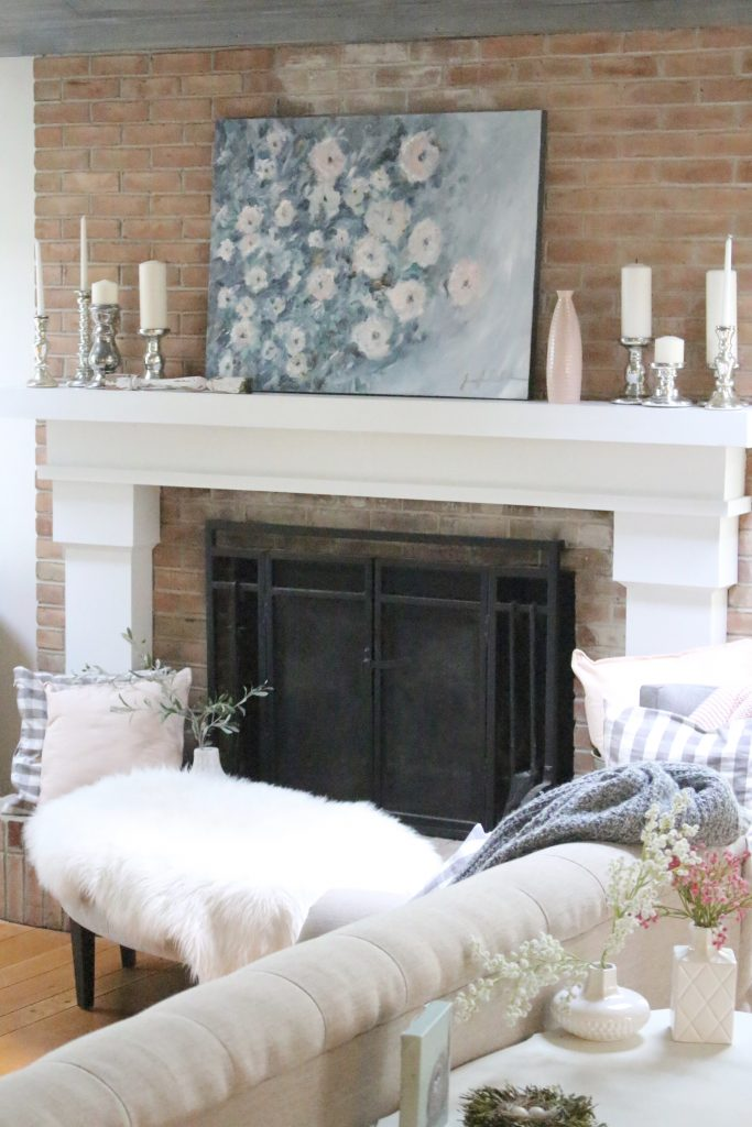 Artwork- flowers- painting- muted colors- wall gallery- home decor ideas- painting- Jennifer Collander- art- wall decor ideas- summer- fresh- room decor- pastel color palette- mantel- mantles- decorating your mantel- seasonal decor- summer mantel