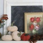 A vintage fall mantel- vintage- fall- classic- mantel- brass- fall decor- fall decorating- mantle- brass animals- velvet pumpkins- room design- mantel decor- decorating your mantel for fall- classic autumn decor- oil paintings- black tray