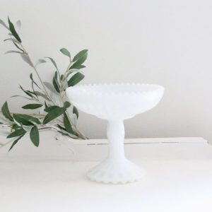 white- milk glass- pedestal dish- vintage- home decor- centerpiece- farmhouse- cottage- decor