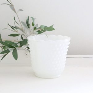 white- milk glass- pot- planter- flowers- vintage- plants- home decor- farmhouse- cottage