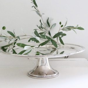 silver plated- cake- stand- round- home decor- table setting- centerpiece- home decor- weddings- vintage- farmhouse- cottage- entertaining- dishes