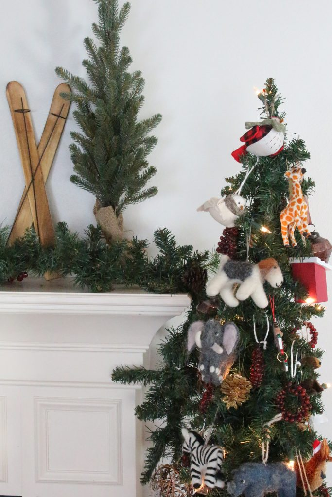 rustic- Christmas- mantel- mantle- home decor- garland- birch logs- animal ornaments