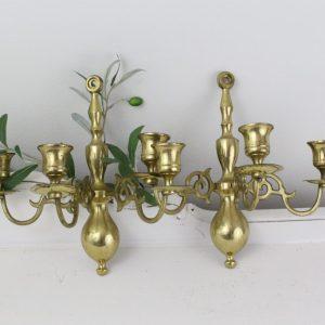 brass- candlestick sconces- vintage goods- home decor