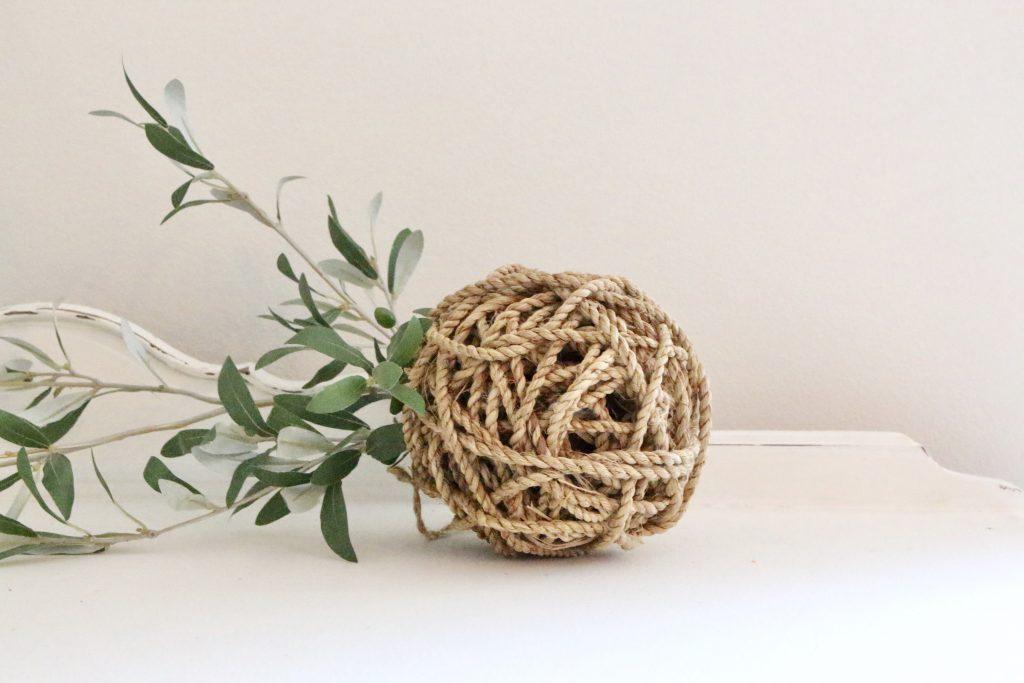 decorative- rope ball- home decor- farmhouse- centerpiece- cottage