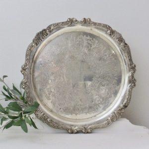 silver- tray- centerpiece- vignette- kitchen- vintage- home decor