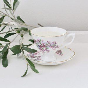 handmade- candle- soy- tea cup- lavender- lemon- vintage- antique- home decor