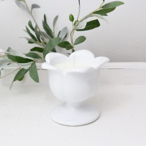 handmade- candle- milk glass- vintage- decor