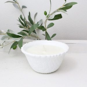handmade- candle- vintage- milk glass- home decor