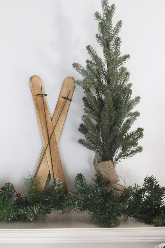 rustic mantel- wooden skis- mini trees- farmhouse Christmas mantel- chalkboard- home decor- birch logs