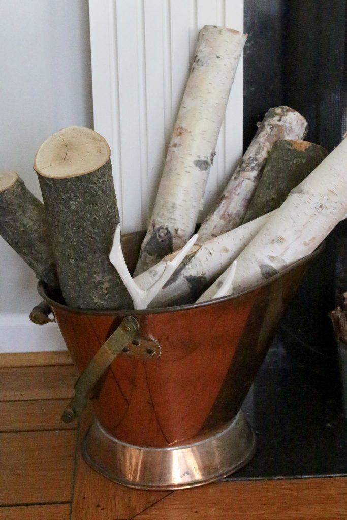 birch logs- copper bucket- Christmas- rustic decor- mantel
