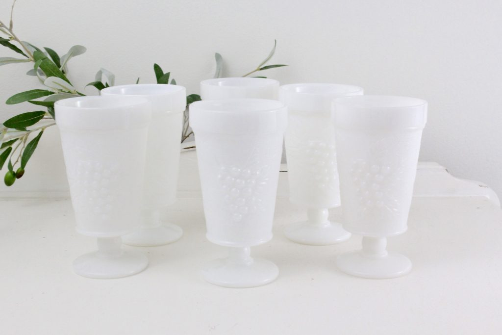 milk glass- goblets- kitchen- vintage goods