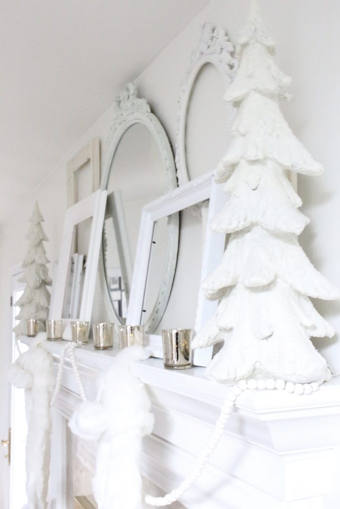 Dreamy- white- Christmas- mantel- mantles- seasonal decor- all-white mantel- cottage style- shabby chic decor- home decor- Christmas bedroom