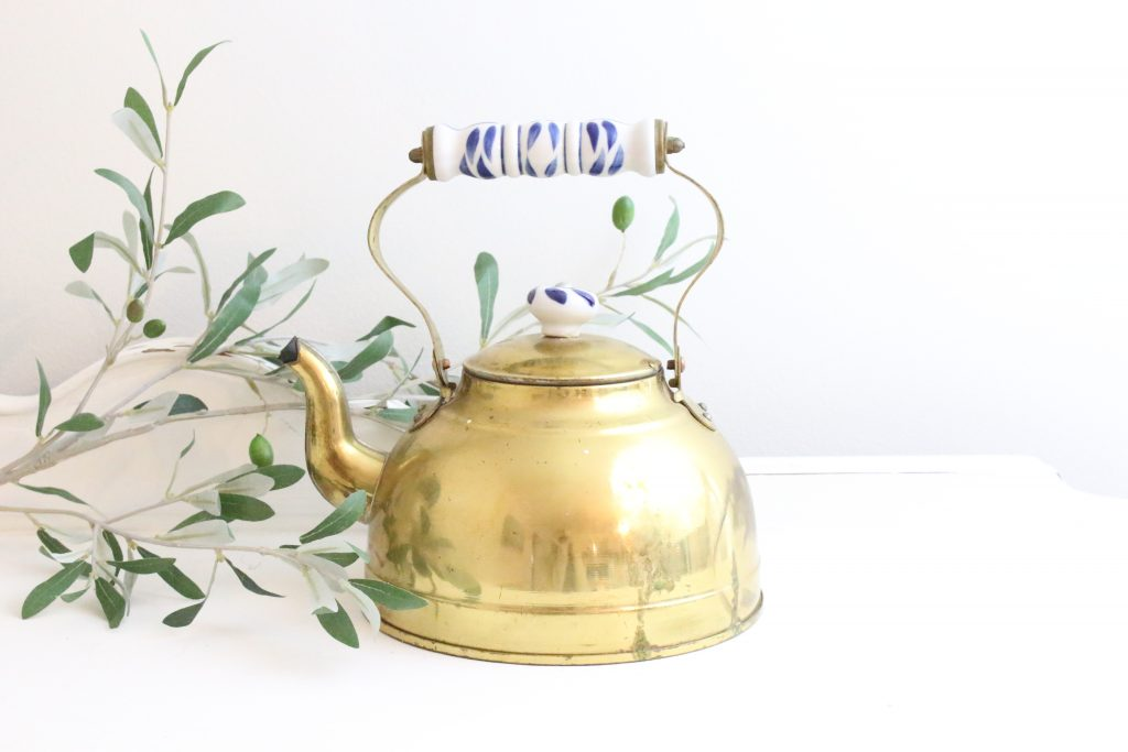 brass- teapot- ceramic knob- home decor- kitchen- vintage goods