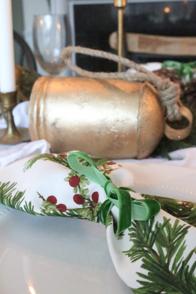 Christmas- green- gold- dining room- elegant- antique brass- candlesticks- candlelight- greenery- farmhouse- cottage