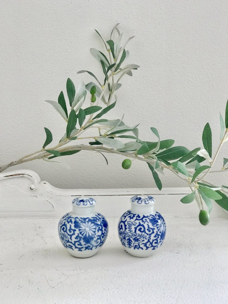 blue and white- salt and pepper shakers- vintage goods- kitchen
