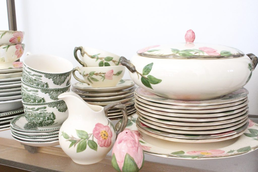 china- collections- collectibles- thrifted- flea market- vintage goods- dishes- pottery- cup rack- desert rose