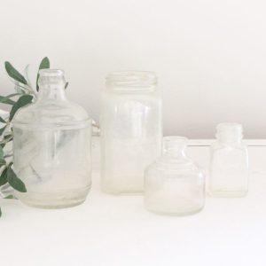 glass bottles- vintage- bottles- clear bottles- home decor