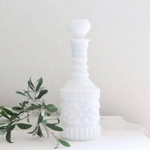 white milk glass- milk glass- decanter- vintage- home decor