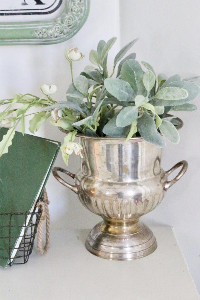 vintage- arrangement- green- florals- faux flowers- decor- green in decor- spring decor