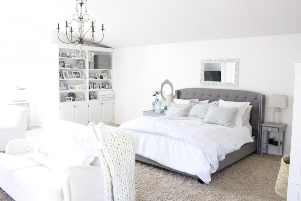 spring decor- master bedroom- spring decor- bedroom decor- bedroom-white decor- shabby chic decor- feminine decor- spring in the bedroom- floral prints- mantel decor- faux milk glass