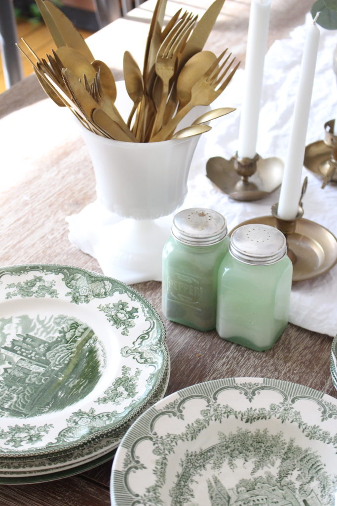 Classic Fall in our Dining Room- green transferware dishes
